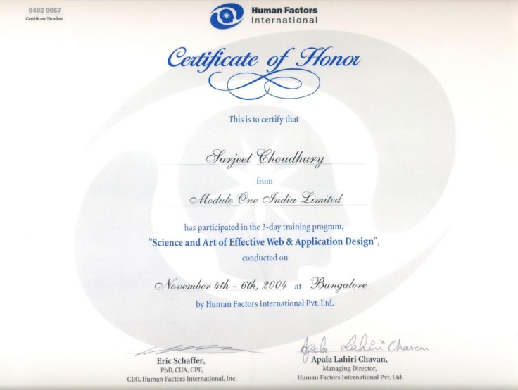 Certificate of science & art of effective web and application design