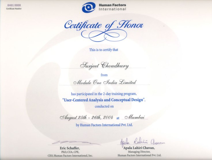 Certificate of User-Centered Analysis and Conceptual Design