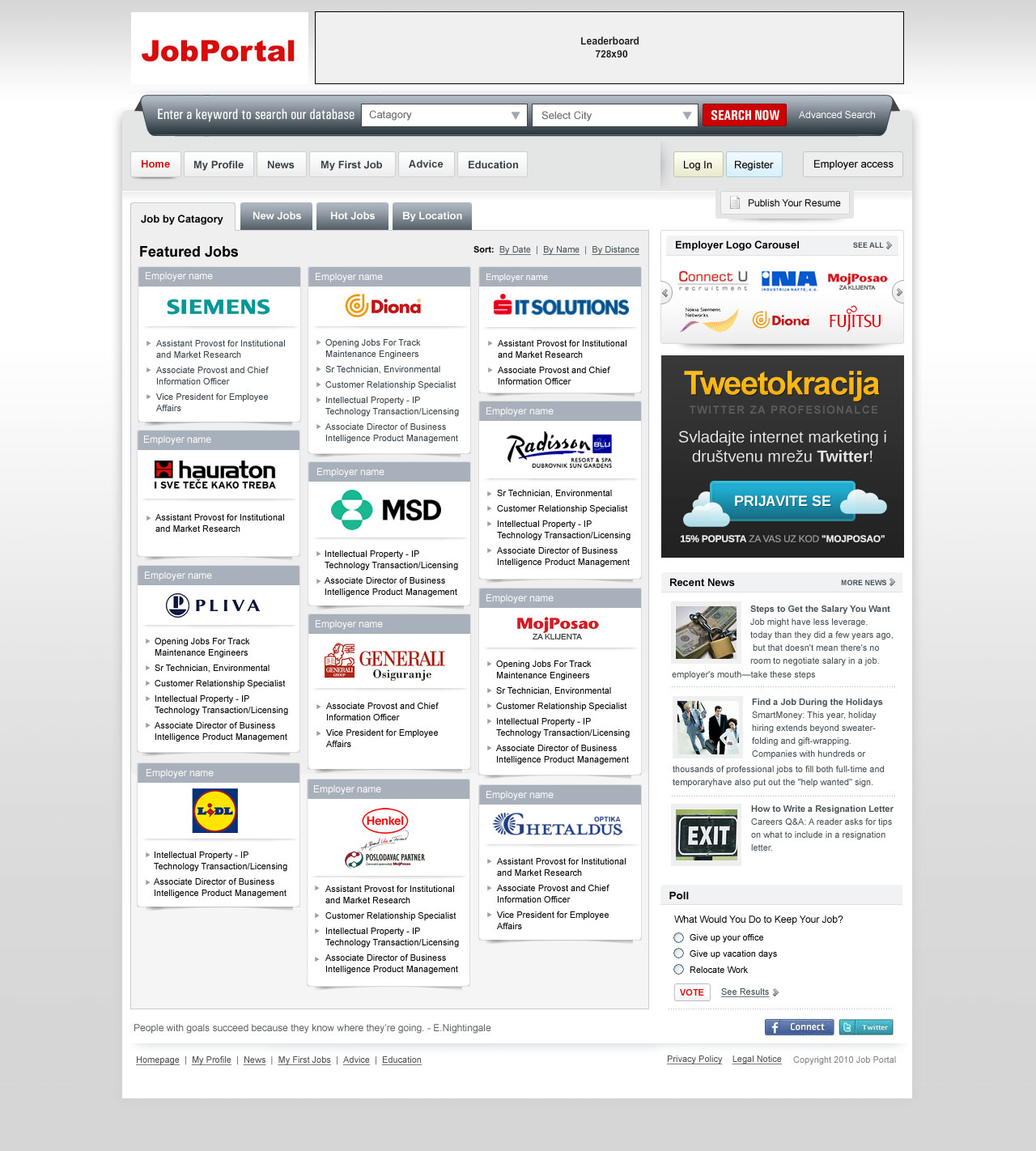 JobPortal HomePage UI Design