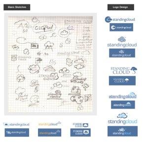 Standing Cloud logo design basic sketches