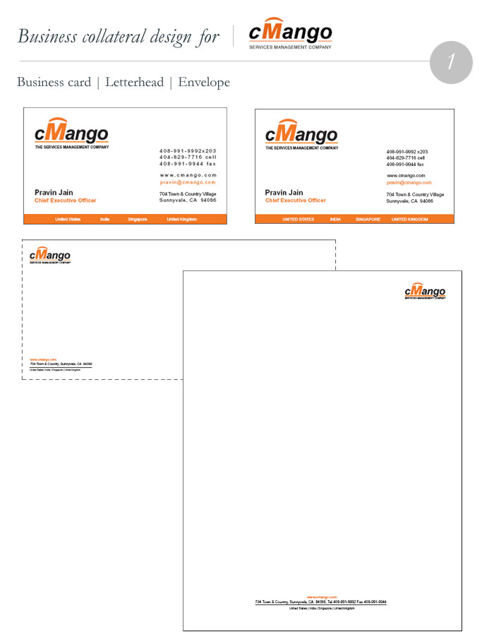 CMango Business Card, Letterhead, Envelope design