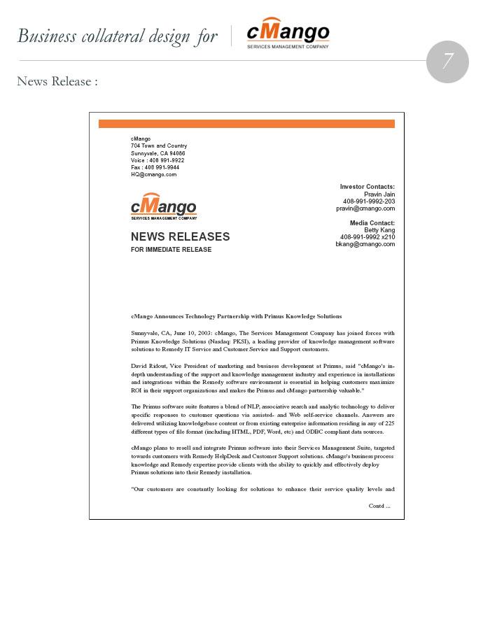 cMango News Releases