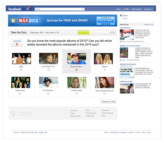 "Facebook apps UI for ""Max quiz"""