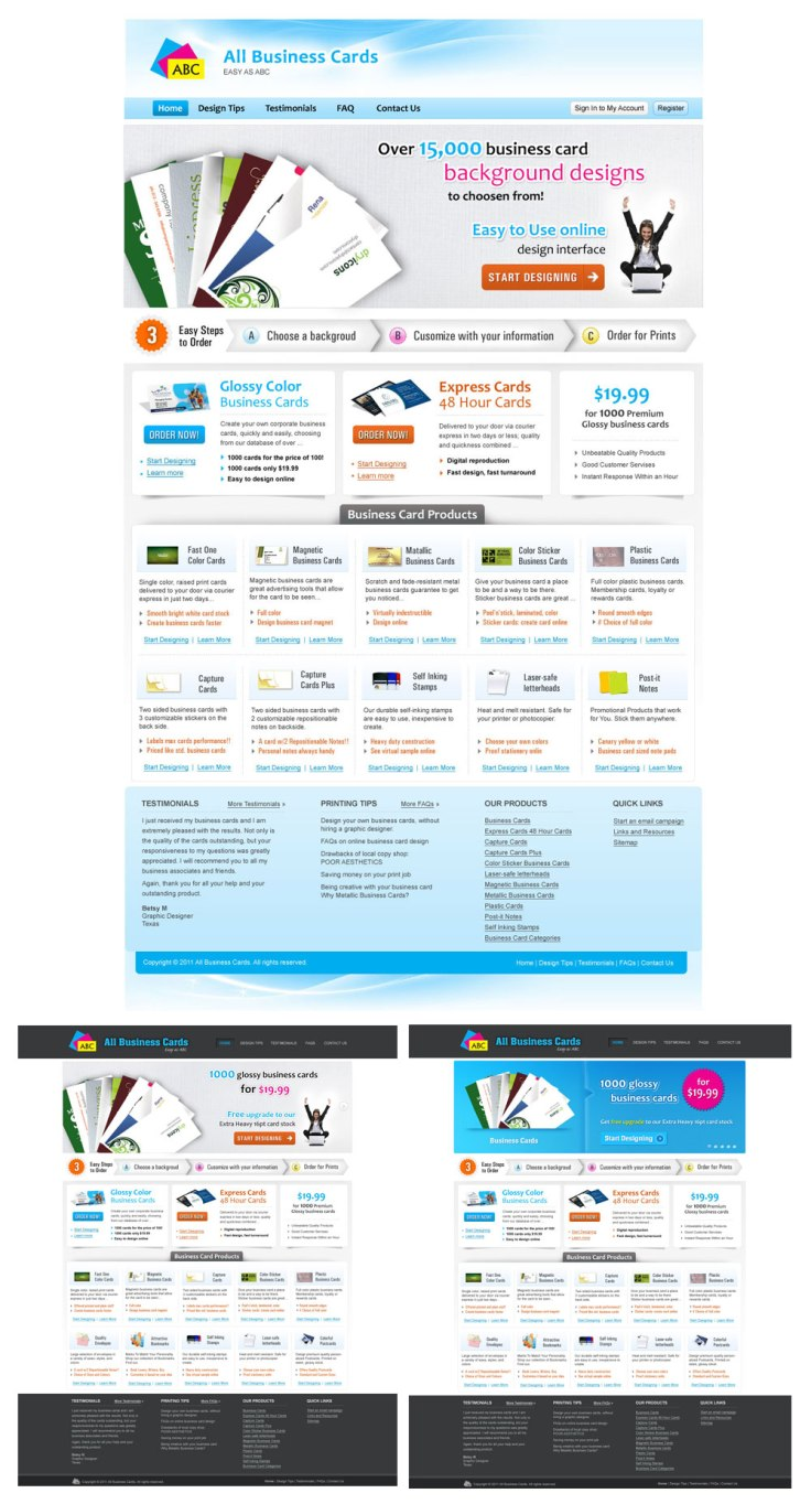 Web Design for an Online Business Card Company