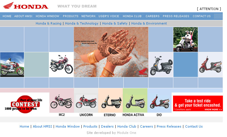 Honda Motor Cycle Scooters India Main Site