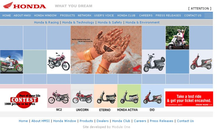 Honda Motor Cycle & Scooters India main site UI