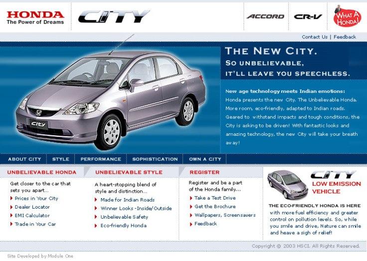 Honda-City Landing Page UI