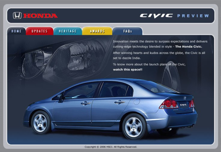 Honda-Civic Preview Page UI