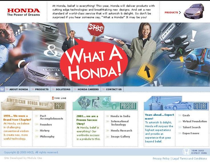 Honda-WhatAHonda Landing Page UI