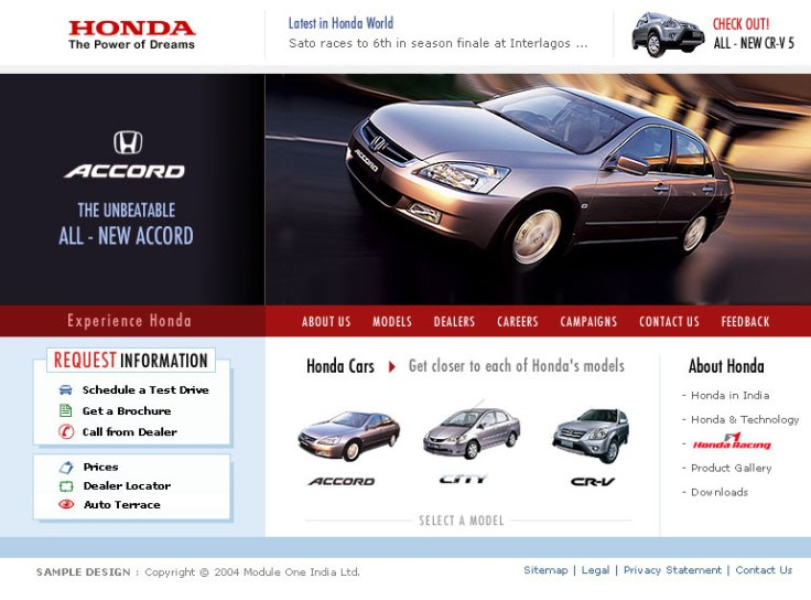 Honda Cars India Main Page UI